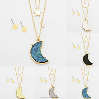 2016 New Products Star Crystal Druzy Crescent Moon Pendant Necklace Fashion Pendant Necklace Wholesale