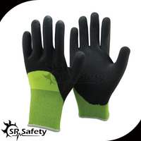 SRSAFETY Double Liner working gloves knitted elastic wrist foam nitrile glove
