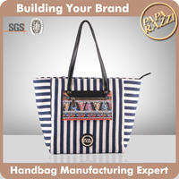 3509 Good Quality Navy Stripe Fabric Shopper Handbags Canvas Bag Ladies 2015