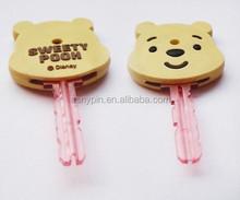 Custom cheap soft pvc key head cover, silicone car key cap, round shape, house shape,animal shape
