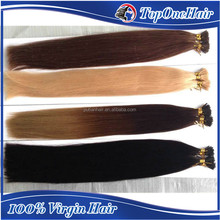 Remy I kertin tip hair extension grade 7a pre bonded hair extensions black blond color