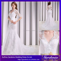 Mermaid Half Sleeves V-neck Lace Court Train Embroidery Dubai Price Muslim Wedding Dress 2013