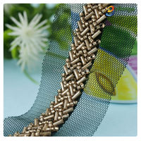 Garment accessories fashion W shape design handmade embroidery beaded lace
