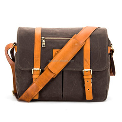 cotton vintage water resistant waxed canvas camera messenger laptop shoulder bag with leather trims