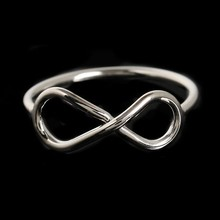 Rhodium plated cheap one dollar infinity ring, stacking ring eternity symbolic love romantic ring