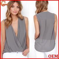 Women sexy V neck sleeveless bodice tank top with high-low hem