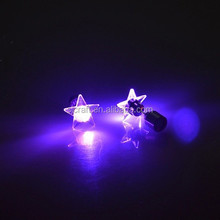 Pink-color Light Up LED earrings Studs Flashing Blinking Stainless Steel Earrings Studs Dance Party Accessories SJLE-017