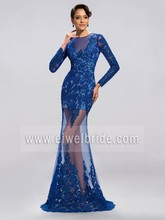 Sexy Lace Sewing Patterns Long Sleeve See Through Bottom Evening Dress c50