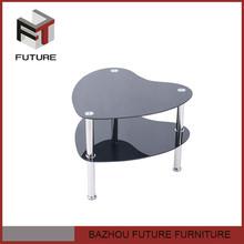 modern heart shape bistratal 3 leg glass coffee table consumable