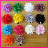 artificial corsage-mesh chiffon flower brooch Cheap hair flower chiffon tulle flower