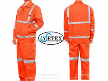 Best fastness EN11612 100% cotton hi-vis orange tear resistant fire resistant protective jacket and pants