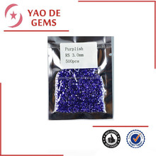 3 mm Cubic Zirconia Purplish Glass Stone Round Shape Gemstone Cabochon