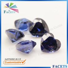 FACETS GEMS Wholesale Heart Shape Artificial Sapphire Blue Zircon