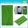 top quality fold leather case for iphone4, 4s. with card slots and stiching cover