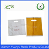 Various color special printed patch handle plastic bag with die cut.