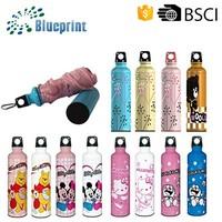 Three Folding 6K Ribs Portable Mini Fashion Water Bottle Cap Umbrella
