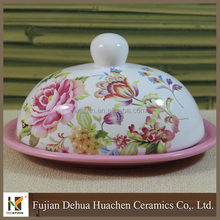 New design unique flower ceramic butter dish