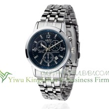 High quality mens stainless steel wrist watch calendar function Water resistant quartz wrist watch good price wholesale