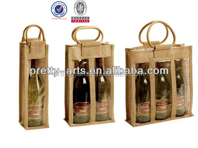 promotional high quality hand made jute burlap wine bottle bag new arrive