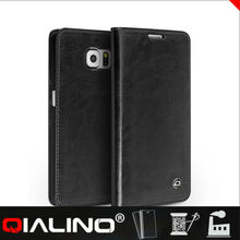 QIALINO Classic Design Custom Design Cow Leather S6 Shockproof Case