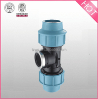 """""""HJ"""" Plastic PP Compression Fittings female tee with steel ring"""
