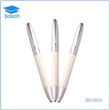 Milk White Shining Bright Metal leather gel ink pen