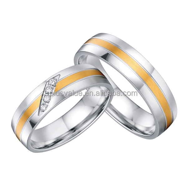 Stainless Steel Bicolor Cheap Wedding Rings