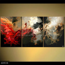 Handmade Modern Group Abstract soft Oil painting on canvas, DRAGON AND RIDER