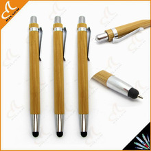 wholesale 2015 new fashion cheap bamboo wood ballpoint pen stylus touch pen