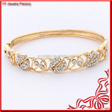 Wholesale Fashion Design Hollow Crystal 22K Gold Bangle