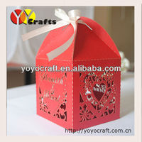 Red pearl paper laser cut wedding gift chocolate packaging boxes with ribbon of wedding party favor