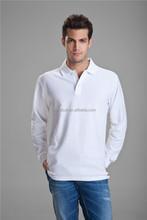 สีขาวแขนยาวผู้ชายเสื้อโปโล, 100%ผู้ชายผ้าฝ้ายเสื้อ, ผู้ชายเสื้อลำลองภาพ
