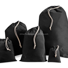 Custom recyclable drawstring Black cotton Laundry bags