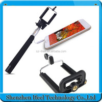 Phone Wired Selfie Stick Handheld Monopod Built-in Shutter Extendable and Holder