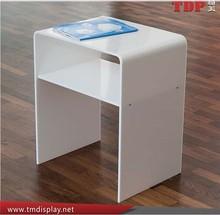 Acrylic Modern White Acrylic Coffee Table for Home, Acrylic waterfall side table