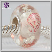 China high quality sterling silver red heart big hole glass beads