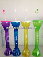 2015 new color yard glass BPA free hot sale cheap factory beer yard tube cup drinking slush ice yard glass
