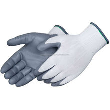 High quality polyester gloves ,grey nitrile coated working gloves