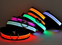 Glowing in the dark Black Bands LED Dog Collar Lighted Dog Collars Illuminated Dog Collars