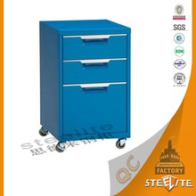 Attractive design office furniture mobile pedestal with 3 Drawer office documents cabinet with wheel