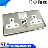 Factory price UK US standard double power 13a electrical sockets usb wall socket with usb charger outlet
