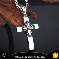 China Factory price Long chain hip hop popular crucifix pendant necklace black enameled jewelry necklace cross pendant