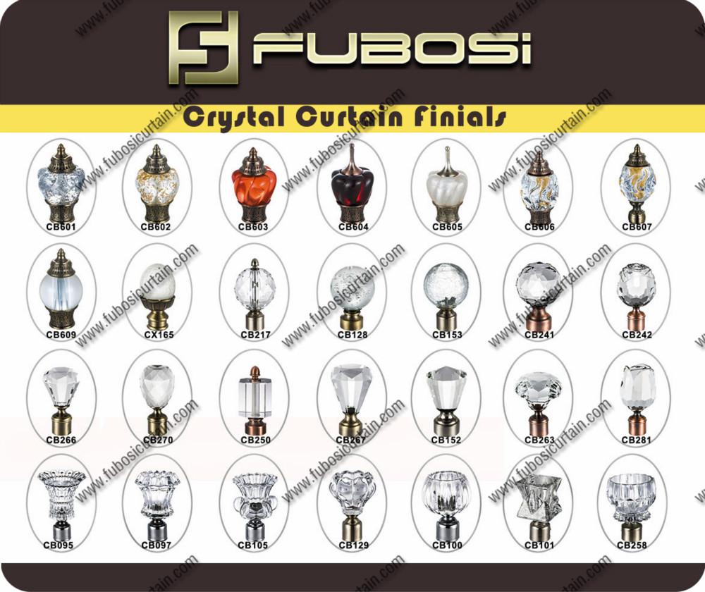 Décoratifs pour la maison de cristal et de verre pour tringle à rideau faîteaux/pôle/tube