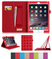 PU Leather Case with Card Slots, Pocket, Elastic Hand Strap and Stylus Holder for iPad air 2