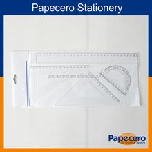 Stationery of 4 pieces transparent plastic geometric ruler set