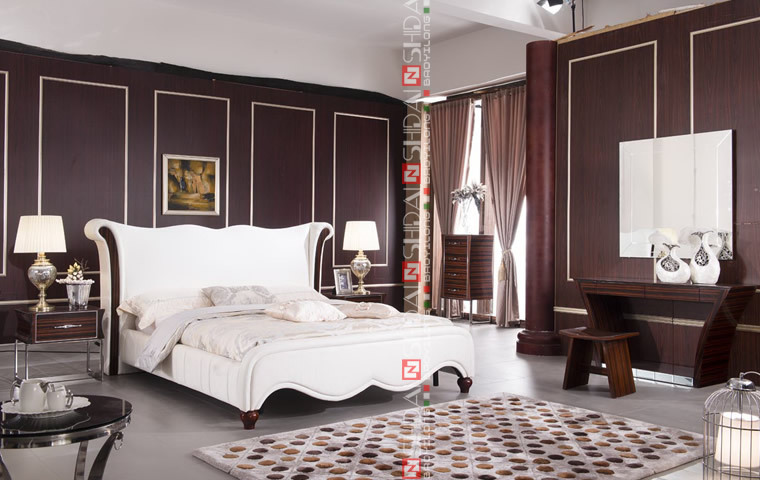 Reine lit taille lit king size lit en bois moderne b9025 literie id de prod - Taille lit queen size ...