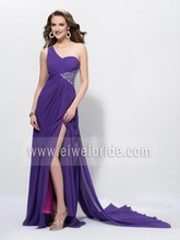 One Shoulder Beaded Purple Chiffon Prom Dress Night Gown Wedding Party Dress Long Evening Dress With A Train c83