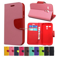Colorful book style phone flip leather case for ZTE U819 with stand function and card slot