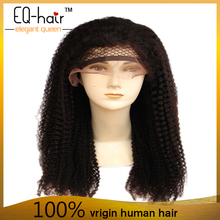 Unproceesed brazilian human hair full lace wig curly natural color Full cuticle kinky curl human hair wig