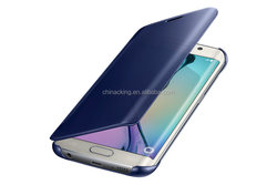 For Samsung Galaxy S6 edge Case Clear View Cover Auto Sleep Wake Mirror Flip Leather Cases